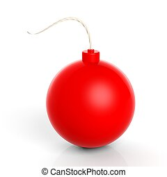 Red cannonball bomb, isolated on white background.