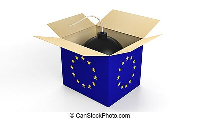 Bomb in box with flag og EU, isolated on white background