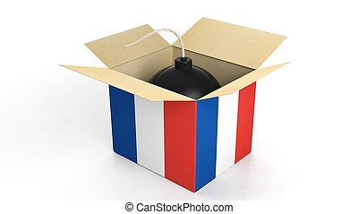 Bomb in box with flag of France, isolated on white background.