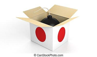 bomba, em, caixa, com, bandeira, de, Japão, isolado,...