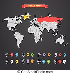 World map infographic template with different markers. All...