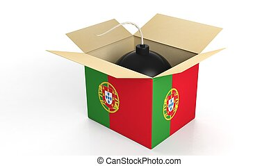 Bomb in box with flag of Portugal, isolated on white background.