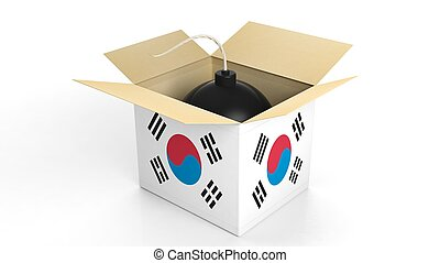 Bomb in box with flag of South Korea, isolated on white...