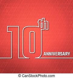 anniversary outline BG - Vector Illustration of 10th...