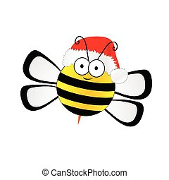 bee sweet with christmas hat vector in colorful