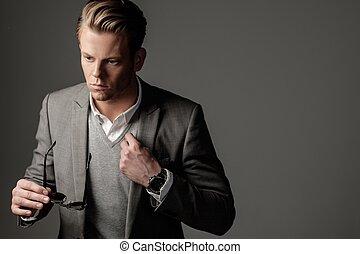 vestido, confiante, pretas, paleto, afiado, homem