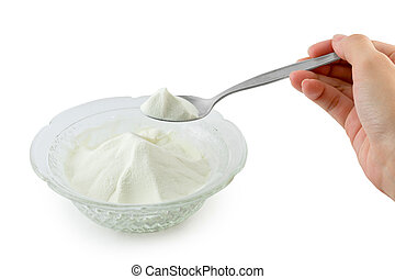 Collagen powder. - Collagen powder protein on spoon measure...