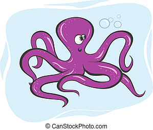 Octopus - Illustration of an octopus crawling underwater