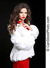 Winter Woman in Luxury white Fur Coat. Beauty Fashion Model Girl. Perfect Makeup and accessories. Manicured nails. Beautiful Lady.