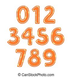 Gingerbread cookie numbers set isolated vector