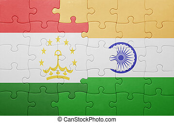 puzzle with the national flag of tajikistan and india...