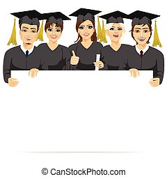 graduate students holding a white board - group of graduate...