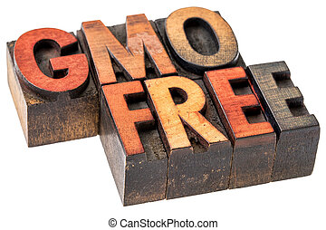 GMO free banner in wood type - GMO genetically modified...
