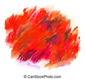 Red blotch - Abstract guasch painting. Blot. Blurred stain....