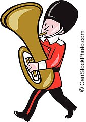 Brass Band Member Playing Tuba Cartoon - Illustration of a...