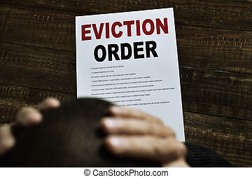 young man who has received an eviction order - a young...