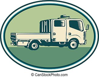 Double Cab Pick-up Truck Oval Woodcut - Illustration of a...