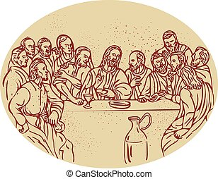 Last Supper Jesus Apostles Drawing - Drawing sketch style...