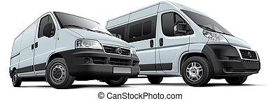 Two vans - High quality photorealistic illustration of two...