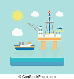Drilling rig at sea. Oil platform, gas fuel. Industrial illustration in flat style.