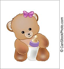 baby bear with a milk small bottle