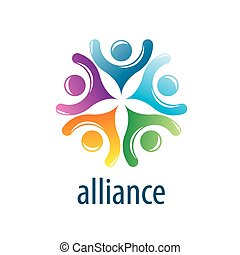 Human Alliance logo - Abstract vector logo union of people...