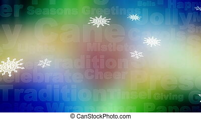 Snow words and northern lights loop - Animated background...