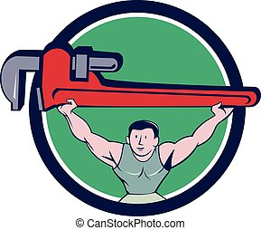 Plumber Weightlifter Monkey Wrench Circle Cartoon -...
