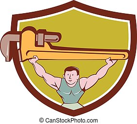 Plumber Weightlifter Monkey Wrench Crest Cartoon -...