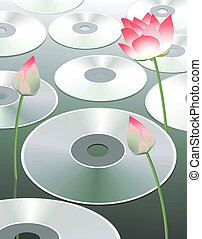 Discs and lotus - Illustration of compact discs between...