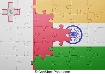 puzzle with the national flag of malta and india
