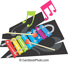 Xylophone - Illustration of a bamboo xylophone with music...