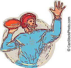 American Football Quarterback Throwing Ball Drawing -...