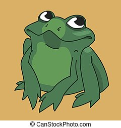 drawing funny frog - vector image funny green frog on the...