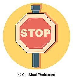 stop signeps - stop sign circle icon with shadow