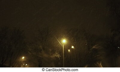 Night Winter Street Lamp With Falli