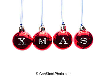 Word xmas on red christmas balls hanging on white background