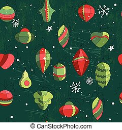Seamless vintage green pattern with traditional Christmas...