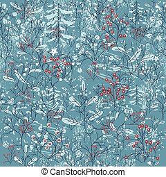Seamless vintage blue pattern with winter forest.