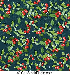 Seamless vintage green pattern with Christmas plant holly...