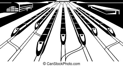 High-speed rail trains in perspective - vector illustration