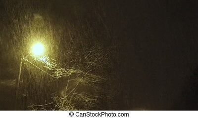Falling snow in the streetlights