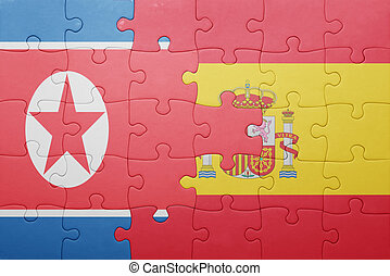 puzzle with the national flag of spain and north korea...