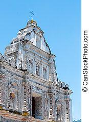 藍色, 石頭, 大,  carvings, 天空, 教堂, 前面, 白色