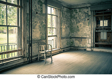Abandoned Building - View inside empty abandoned building on...