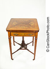 Inlaid 19th century walnut and rosewood envelope card table...
