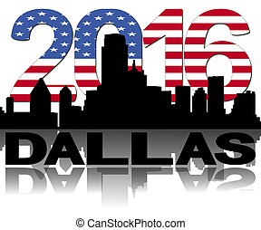 Dallas skyline 2016 flag text illustration