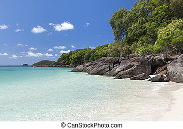 Rocky Coastline along Whitehaven Beach - View of rocky...
