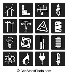 Electricity, power and energy icon - Black Electricity,...