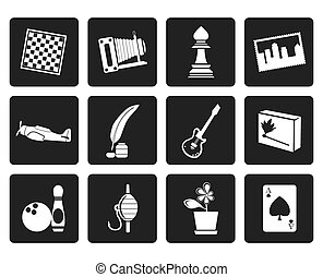 Hobby, Leisure and Holiday Icons - Black Hobby, Leisure and...